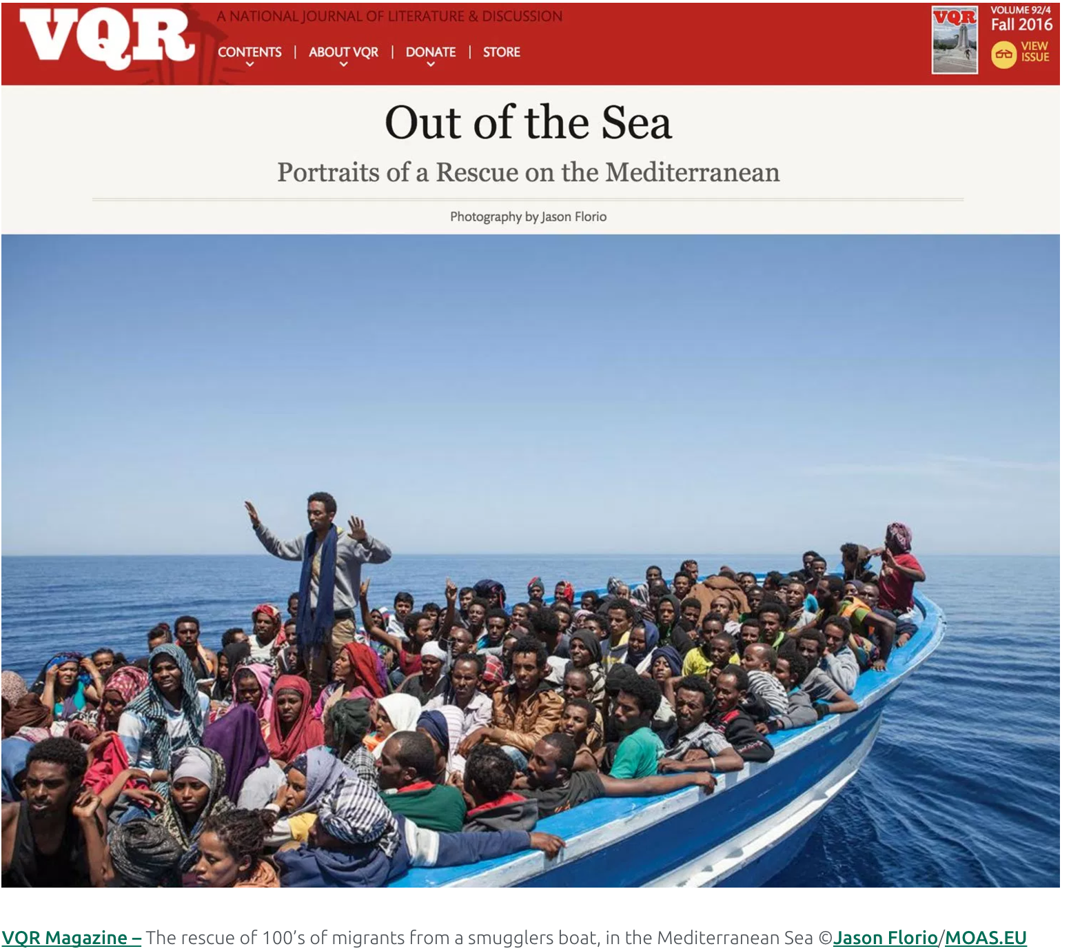 Jason Florio – VQR Prize for Photography, 2016, 'Out of the Sea'
