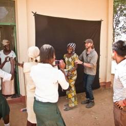 Jason Florio teaches portrait photography to the Farafenni students
