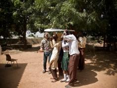Shade is needed! Farafenni students