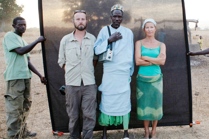 Gambia expedition 2009. Portrait of Dadi Bah, Al Kalo of Tuba Dabbo with Jason Florio and Helen Jones.