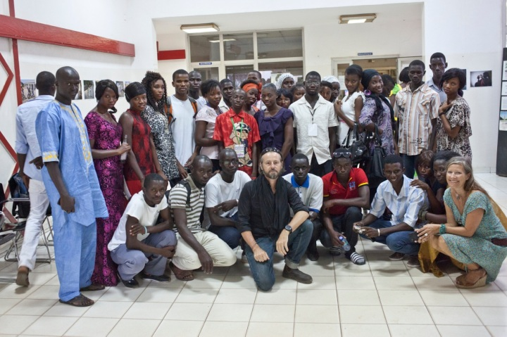 The Gambia - Opening night of Photos Tell Stories exhibition - the photography students with Jason Florio and  Helen Jones-Florio
