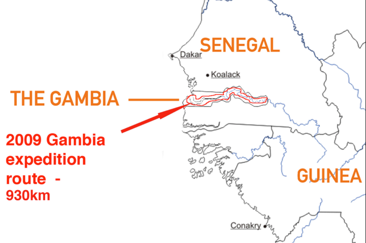Map of the route in The Gambia, West Africa of 'A Short Walk in the Gambian Bush - 930km' ©Jason Florio/Helen Jones-Florio