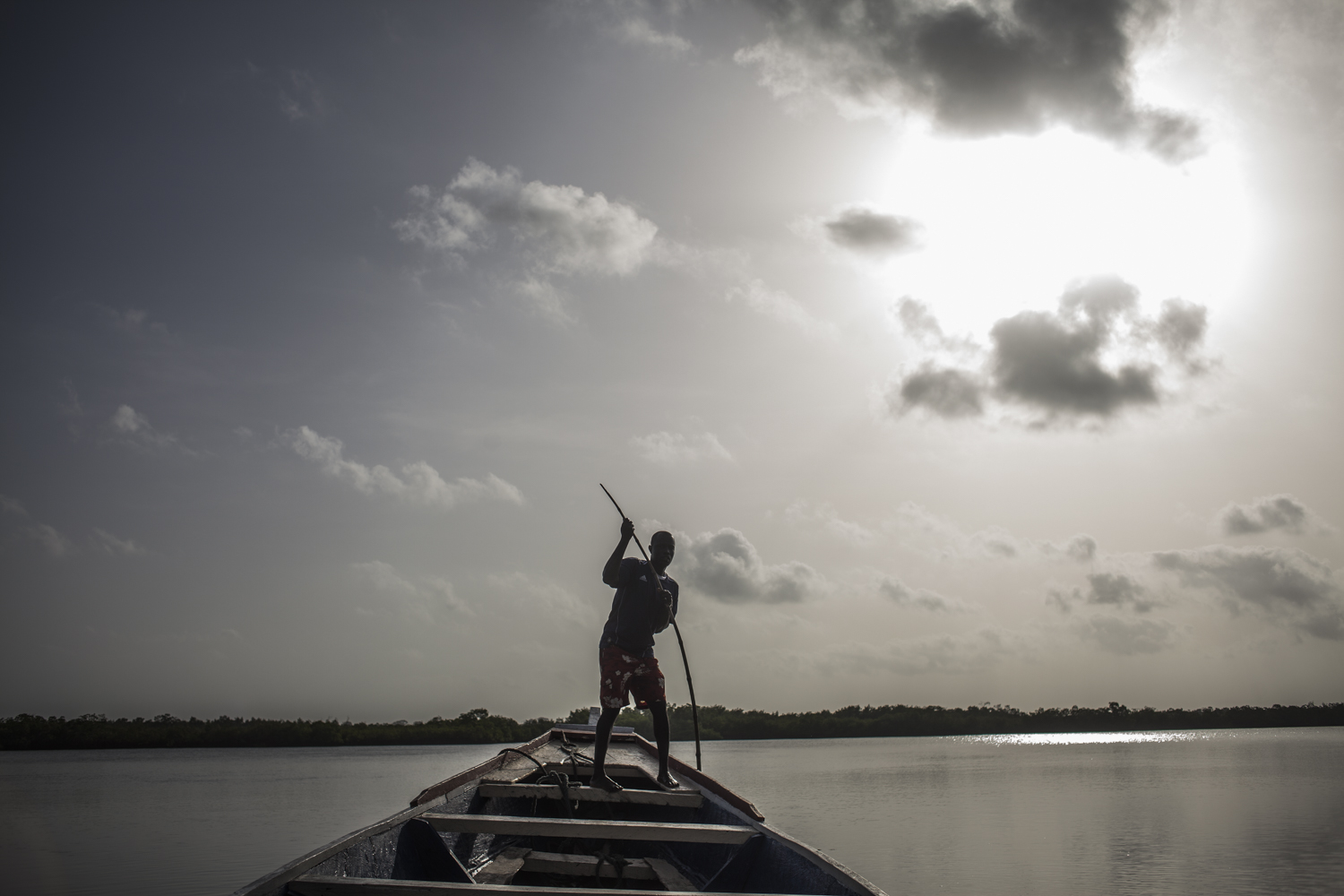 Pirogue crossing from Jinack Island, to main land Gambia