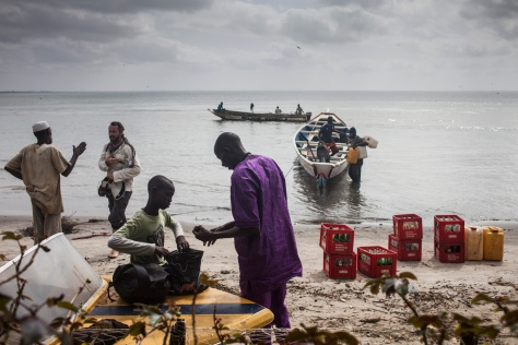 Jason Florio arrival at Banjul from Jinack island by Pirogue