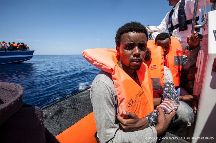 MOAS rescuies 361 migrants after spotting them with the Schielble camera copter