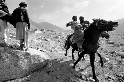 Black and white image from Afghanistan - Nomads on their Horses © Jason Florio