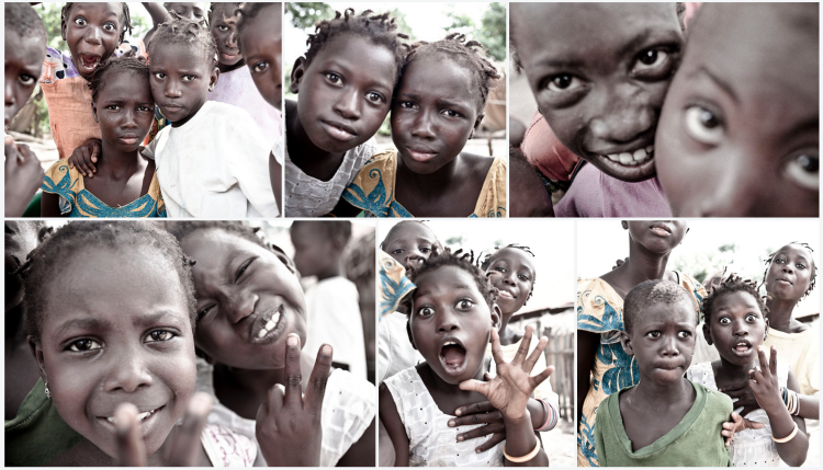 Funny faces and the Casamance kids, Senegal, West Africa ©Helen Jones-Florio