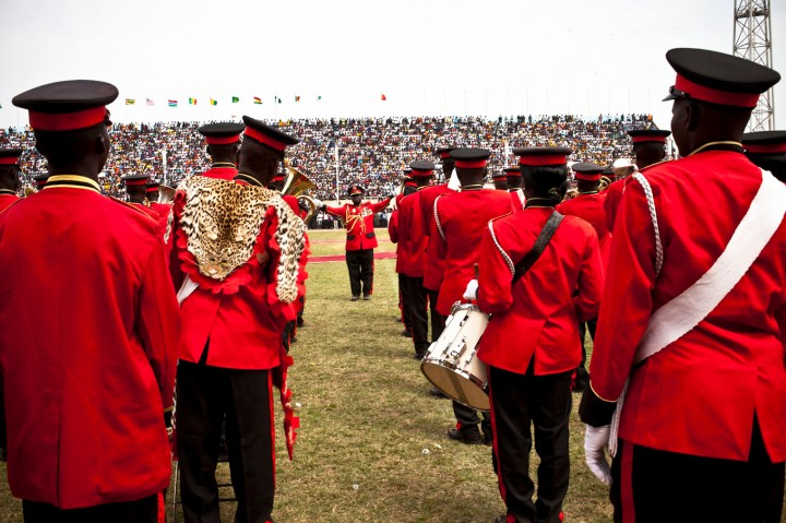 The brass band perform for President Adama Barrow, Bakau Stadium, The Gambia © Helen Jones-Florio
