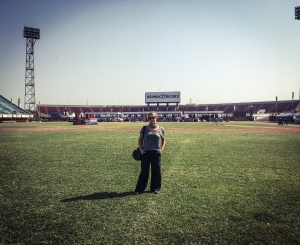 Helen Jones-Florio at Bakau Stadium, on the eve of the inauguration ceremony, The Gambia
