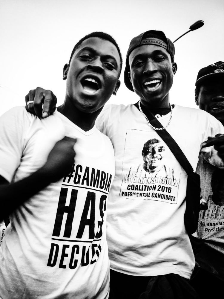 #GambiaHasDecided - Gambian boys wearing their t-shirts for President Barrow Senegal inauguration celebrations, at Westfields junction, in The Gambia © Helen Jones-Florio