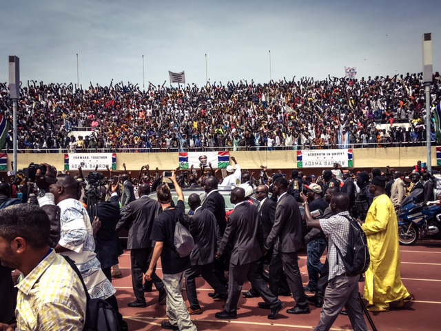The arrival of President Adama Barrow of the Republic of The Gambia, to Bakau Stadium - to be sworn in on Gambia soil © Helen Jones-Florio
