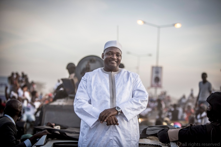 President Adama Barrow, returns to The Gambia from exile in Senegal, to rapturous Gambians ©Jason Florio