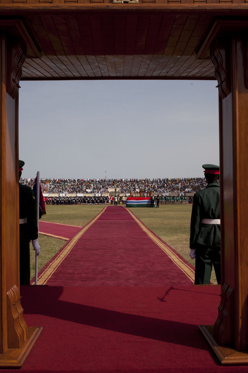 The red carpet to the podium where President Barrow is sworn in, Bakau Stadium © Helen Jones-Florio