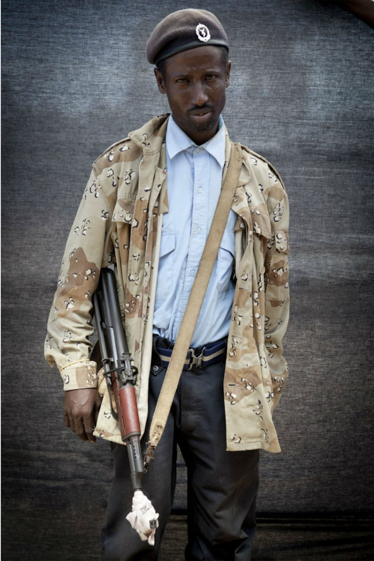 Blackout Portraits 'Policeman' - Mogadishu © Jason Florio