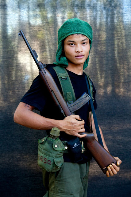 'Fighter for the Karen National Liberation Army' - Blackout portraits, Burma © Jason Florio