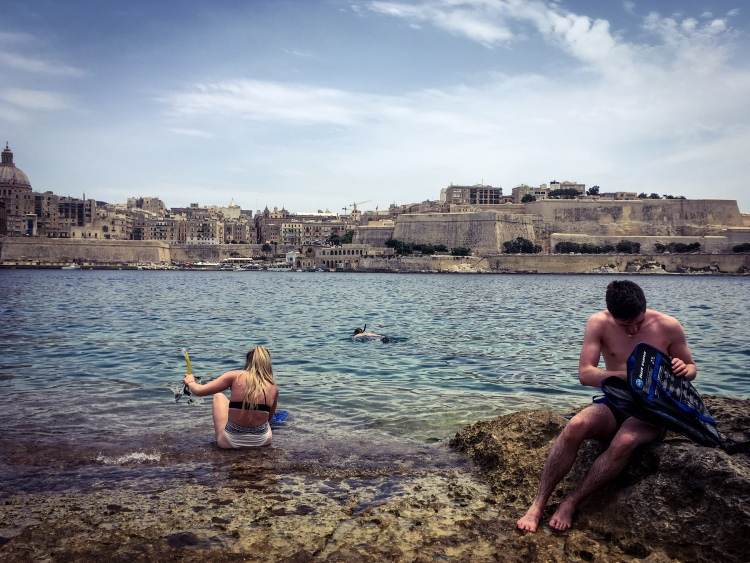 On the rocks - swim time, Manoel Island, Malta © Helen Jones-Florio