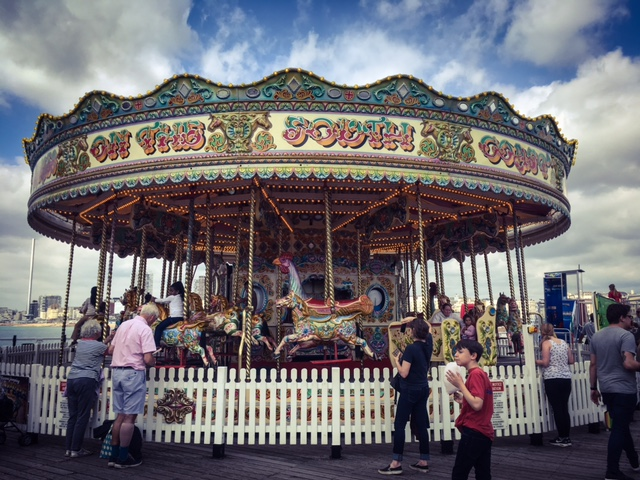 Carousel, Brighton Pier, UK. Funfair ride © Helen Jones-Florio