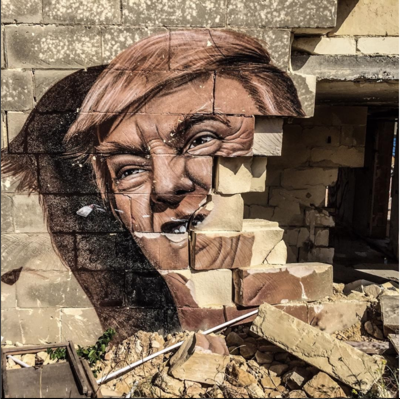 Graffiti - President Trump and broken wall, Malta ©Jason Florio