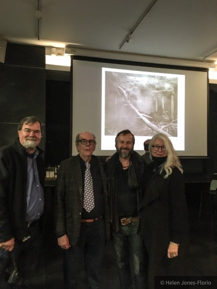 L-R: Jim Casper (LensCulture), David Hurn (Magnum Photos), Jason Florio (Magnum Photography Awards Winner, 2017), Millie Casper (LensCulture) - The Photographers Gallery, London, Oct 12th ©Helen Jones-Florio