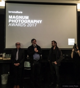 L-R: David Hurn (Magnum Photos),Jim Casper (LensCulture), Jason Florio (Magnum Photography Awards Winner, 2017), Millie Casper (LensCulture) - The Photographers Gallery, London, Oct 12th ©Helen Jones-Florio