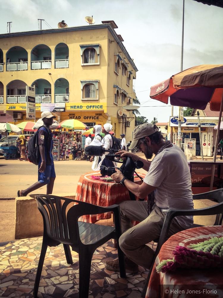 Jason Florio, filming in Serrekunda, The Gambia, West Africa © Helen Jones-Florio
