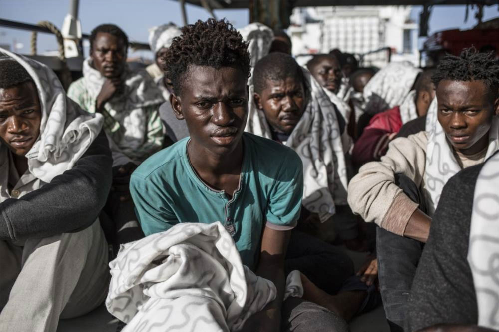 IRIN NEWS - Ibrima Gaye, 17, from Gambia, on board the MOAS rescue ship 'Phoenix' as he waits to be disembarked at the port of Pozzallo in Sicily ©Jason Florio