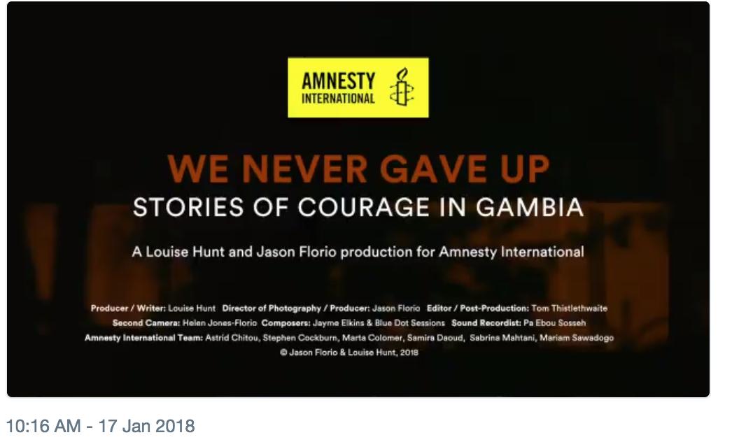 Documentary for Amnesty International - press release