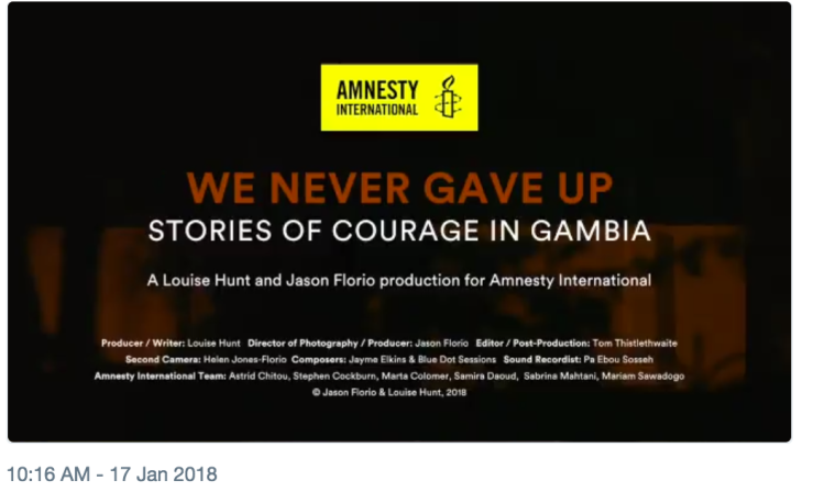 Documentary for Amnesty International - press release