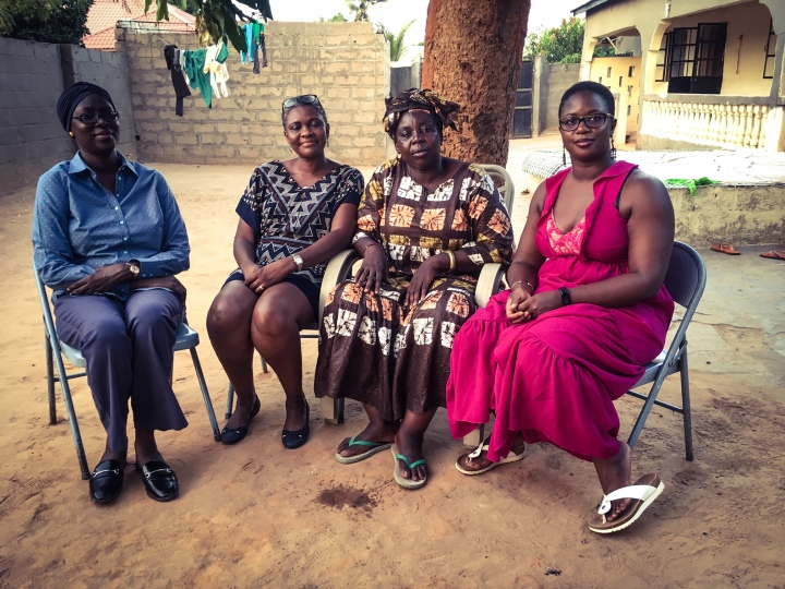 Human rights lawyers, with their client, Jugana Suso: L-R: Hawa Sisay Sabally, Rachel Yvonne Mendy, Juguna Suso, Yassin Sanghor © Helen Jones-Florio (2nd Camera)