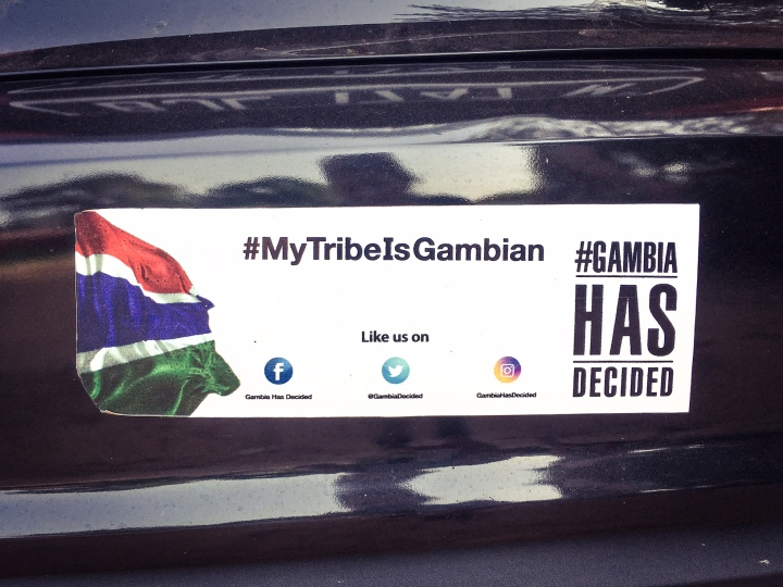 Car bumper sticker '#MyTribeIsGambian © Helen Jones-Florio