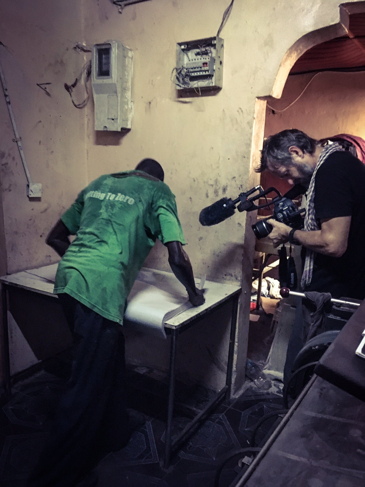 Jason Florio filming at the Foroyaa newspaper print shop ©Helen Jones-Florio (2nd Camera)