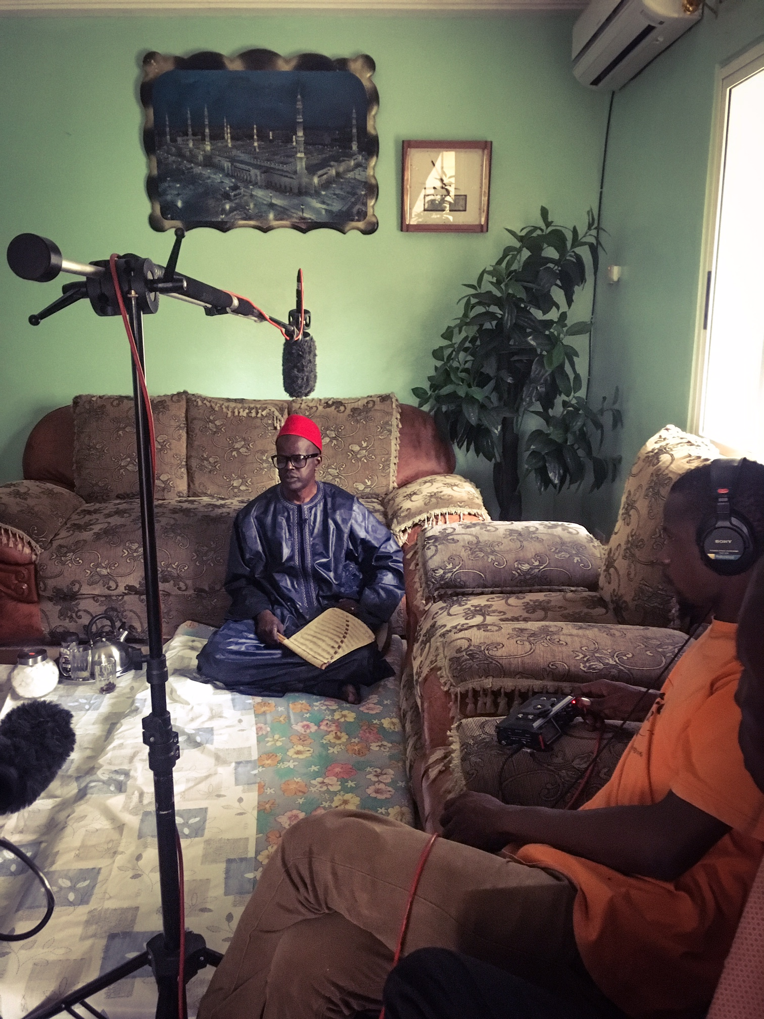 Preparing to interview Imam Baba Leigh at his home ©Helen Jones-Florio