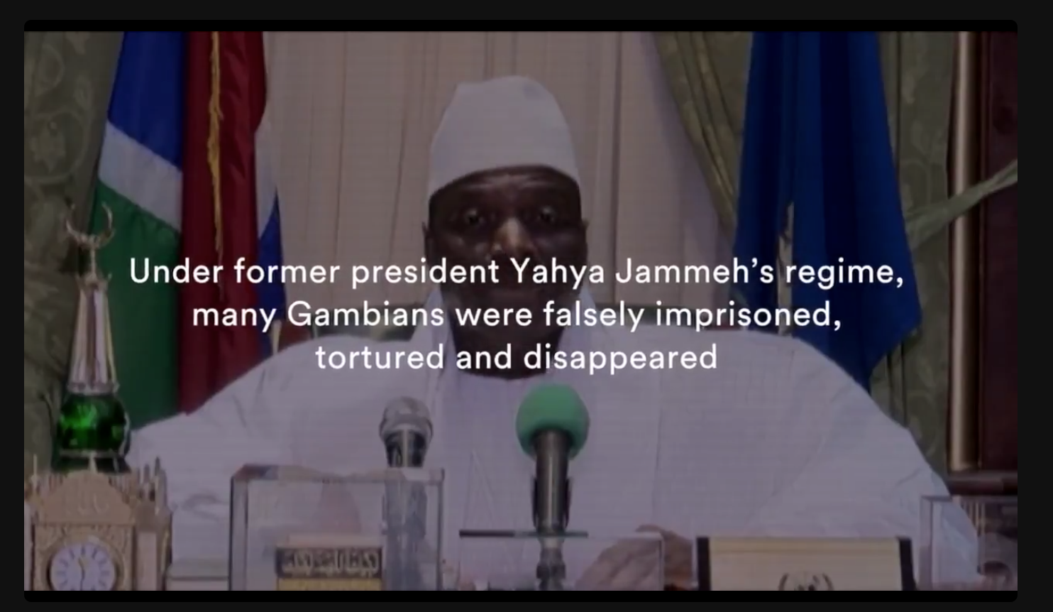 Screen-grab from documentary: Dec 2016, Yahya Jammeh goes live on air to rescind the recent elections, whereby the majority of the country voted him out