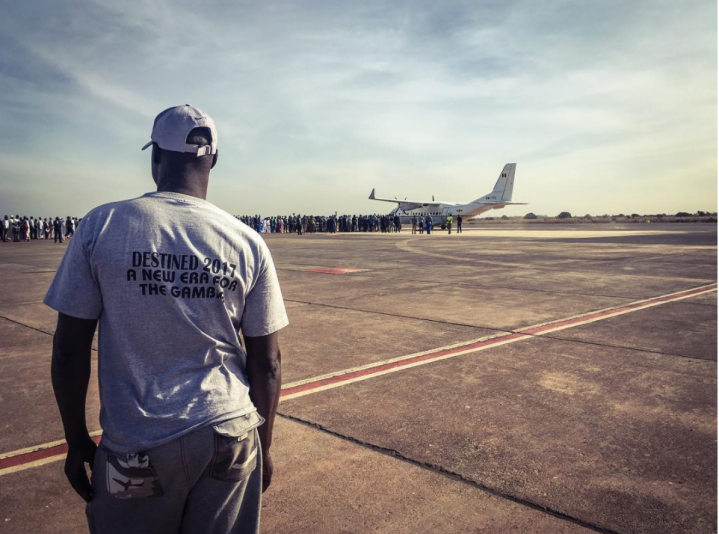 A new era for the Gambia - President Adama Barrow arrives at Banjul Airport, from Dakar, to a monumental reception! ©Helen Jones-Florio