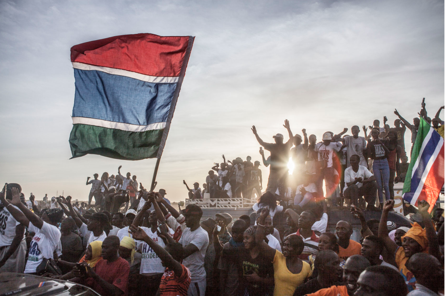 President Adama Barrow returns to The Gambia, after exile in Senegal - an estimated 100,000 people lined the main roads, to welcome him home © Jason Florio