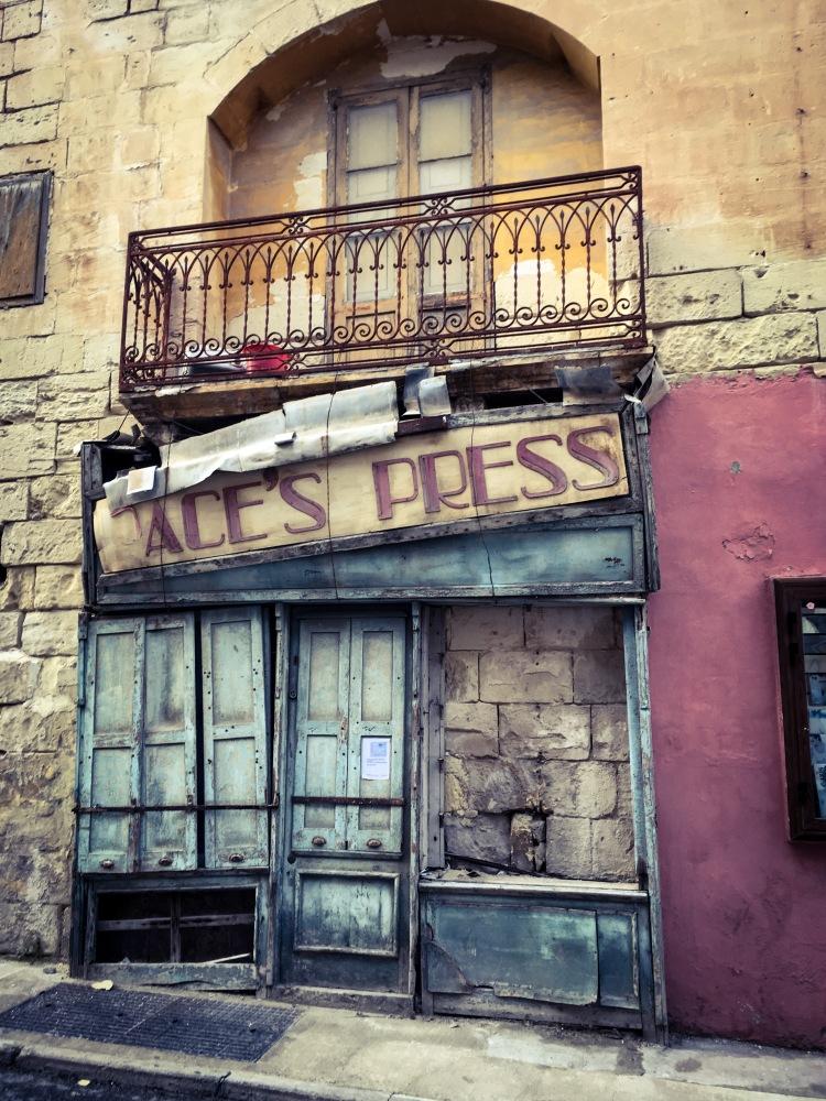 Pace Press: Old store front, Gzira, Malta © Helen Jones-Florio