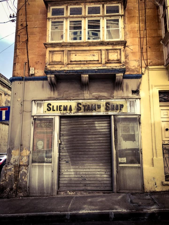 Sliema Stamp Shop - Old store front, Gzira, Malta © Helen Jones-Florio
