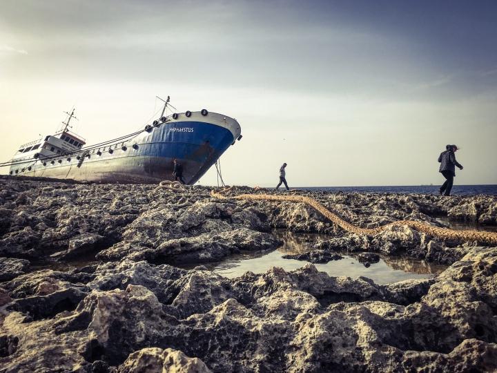 Walking Malta - Beached tanker, Qawra Point, San Pawl il-Baħar, Malta ©Helen Jones-Florio