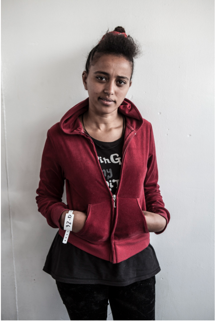 Selam Tsfay from Eritrea rescued from a wooden boat carrying 369 people - portrait ©Jason Florio