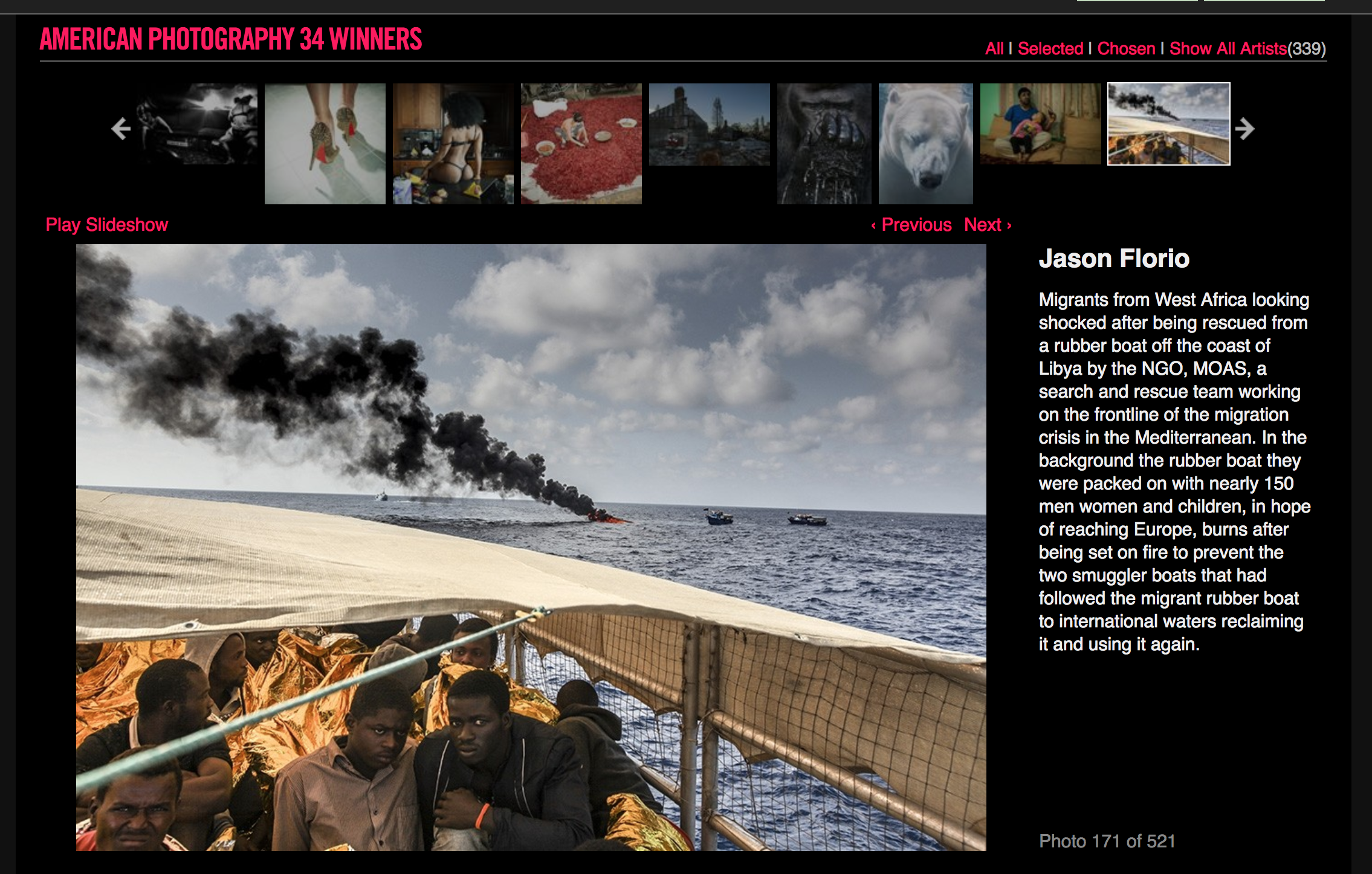 American Photography 34 Winners - image ©Jason Florio - 'Destination Europe' shell-shocked West African migrants on board rescue boat, Mediterranean, as their smugglers dinghy is set on fire in the background