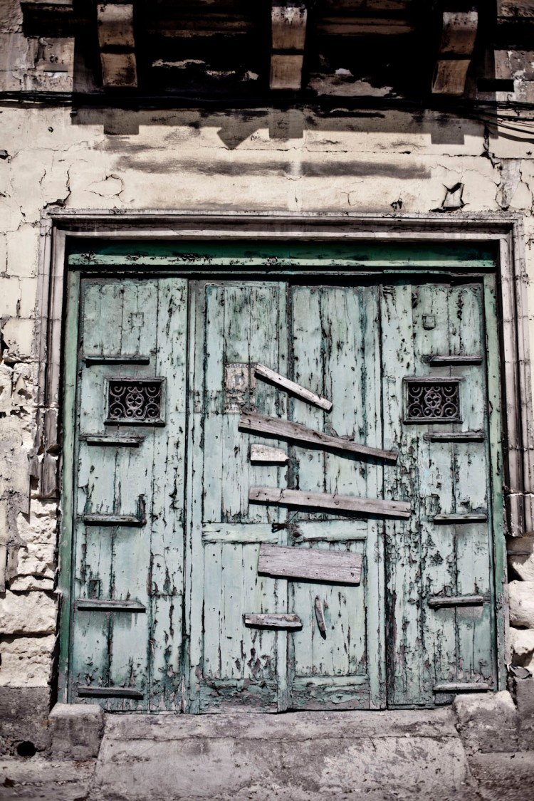 Disappearing Malta Series - vintage workshop doors, Gzira, Malta ©Helen Jones-Florio