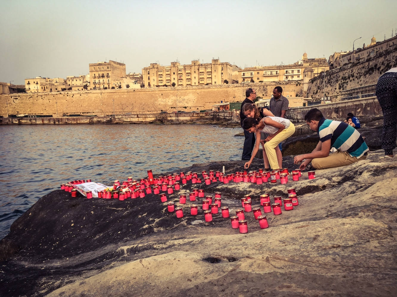Ports of Hope, a candlelit vigil to honor the lives lost at sea and the need for solidarity, Valletta, Malta, 5th July 2018 ©Helen Jones-Florio