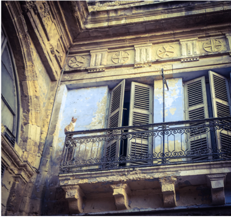 Disappearing Malta - a cat sits on an old balcony, Valletta, Malta ©Helen Jones-Florio