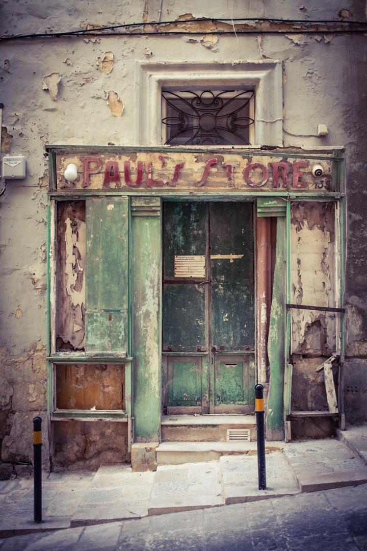 'Paul's Store', vintage storefront, St Christopher St, Valletta. Image ©Helen Jones-Florio