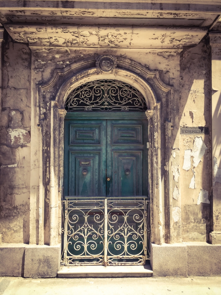 Ornate wrought iron and vintage green/blue door, Triq San Pawl, Bormla, Malta ©Helen Jones-Florio