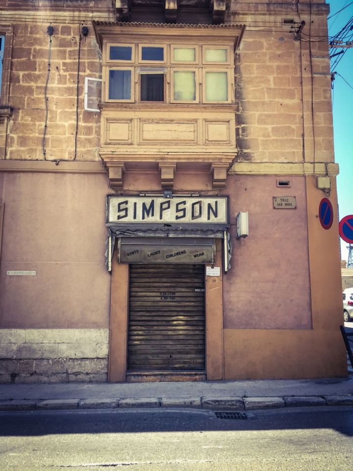 'Simpsons', retro storefront, derelict, Triq Dom Mintoff, Bormla, Malta ©Helen Jones-Florio