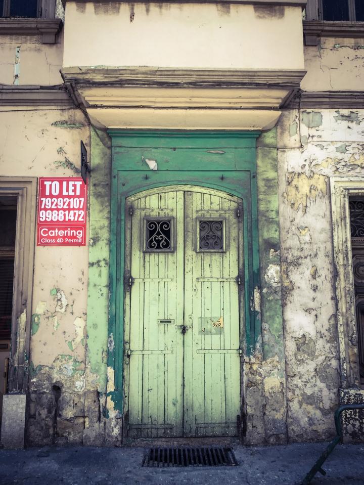 Old shop front/storage unit green doors, Triq San Pawl, Bormla, Malta ©Helen Jones-Florio