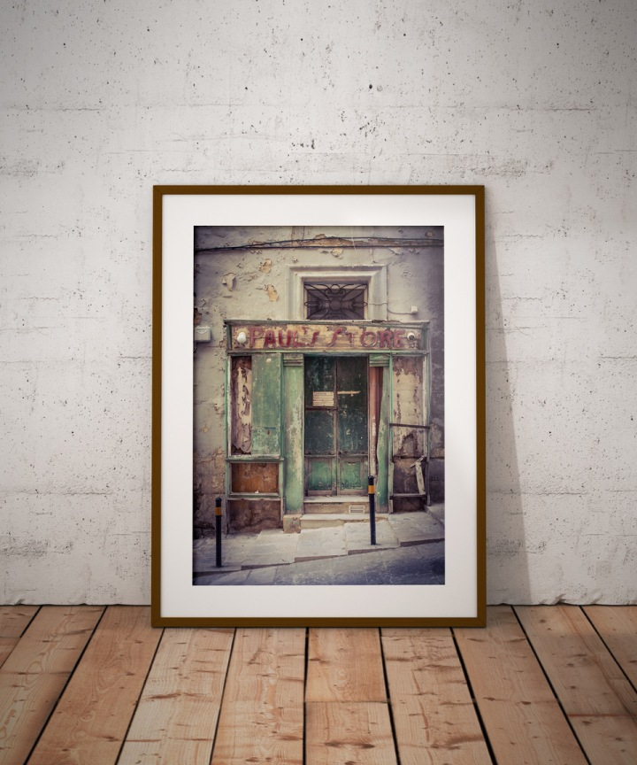 Photography prints - 'Paul's Store', vintage storefront, St Christopher St, Valletta. Image ©Helen Jones-Florio