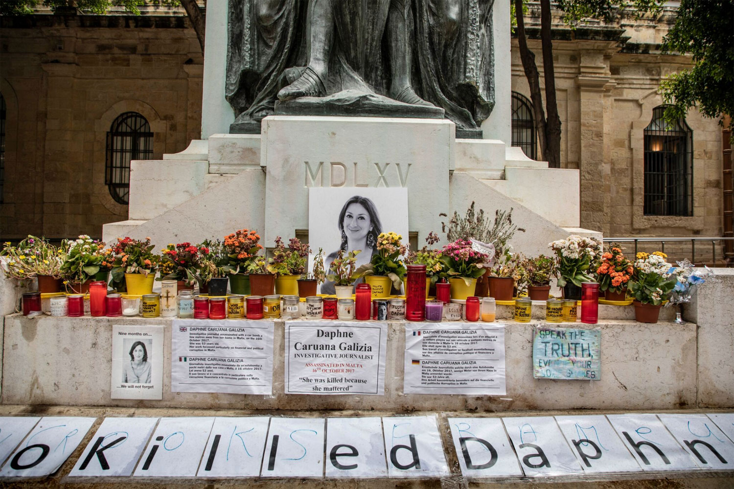 Who Killed Daphne Caruana Galizia – memorial, Valletta, Malta © Jason Florio for Monocle Magazine.