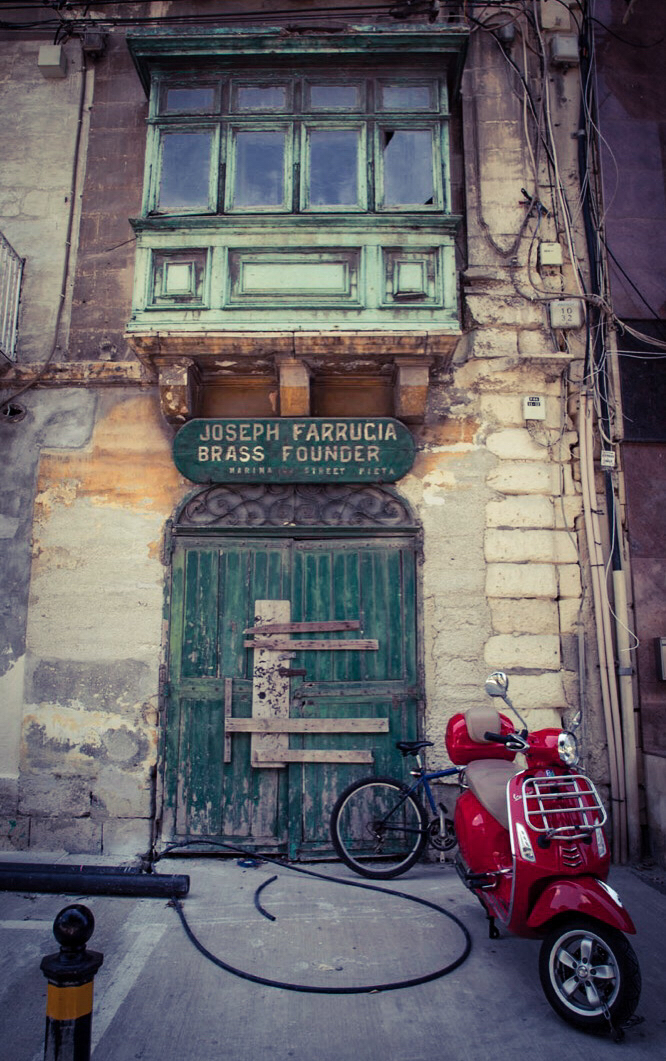 'Joseph Ferrugia store & Scooter' Pieta, Malta ©Helen Jones-Florio photography prints